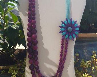 Upcycled turquoise and purple statement necklace