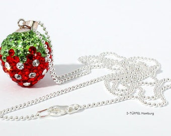 long necklace, sterling silver, strawberry