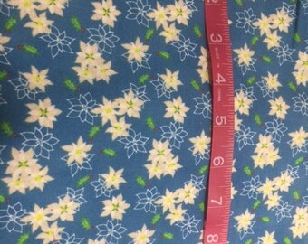 Cotton Fabric with White Flowers
