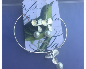 Orchid Pearls Earrings and Bracelet
