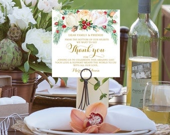 Thank You Card - Winter Berry - Wedding Reception - Place Setting Card - Editable Thank You - Instant Download - DIY - Wedding Table Decor