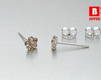 925 Sterling Silver Earrings, Flower Earrings, Soft orange Crystal Stud Earrings (Code : EC25H)