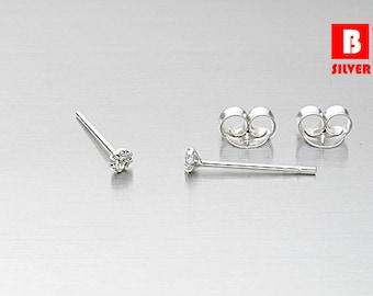 925 Sterling Silver Earrings , Tiny White Crystal Circle Earrings, Stud Earrings, Size 2 mm (Code : EF11A)