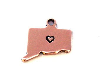 2x Antique Rose Gold Plated Connecticut State Charms w/ Hearts - M132/H-CT
