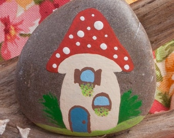 Painted Rock (toadstool and gnome house)