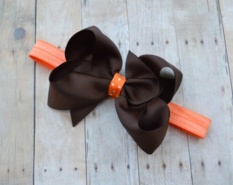 Baby Thanksgiving headband with bow, baby girl Thanksgiving bow, Newborn headband, Thanksgiving baby