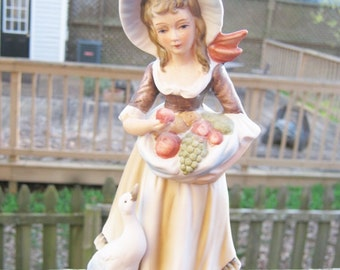 Lefton China Figurine, Lady With Basket And Duck, #6988, Collectible Figurine, Vintage Figurine