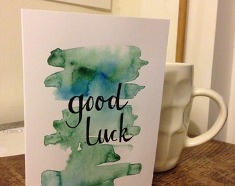 Original hand-painted watercolour 'good luck' greetings card
