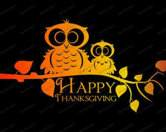 Owls on  branch thanksgiving template