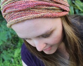 WIDE Sunrise Headband, Red Yellow Orange Dreadlock Headband, Yoga Headband, Dreadband, Knit Headband, Sweatband, Mens Headband, Dreads
