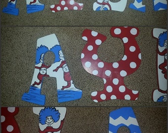Dr. Seuss Letters - Thing 1 and Thing 2 Letters - Hand Painted Letters - Name Letters - Painted Letters - Dr. Seuss Nursery - Wood Letters