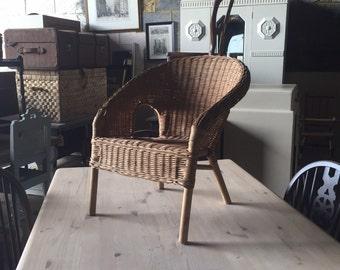 Childs vintage wicker armchair