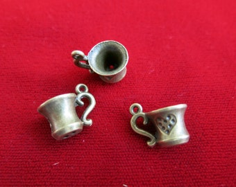 "BULK! 15pc ""teacup"" charms in antique bronze style (BC101B)"