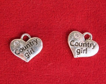 "5pc ""Country girl"" charms in antique silver style (BC1122)"