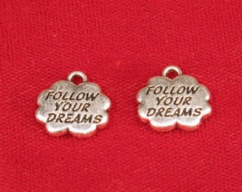 """5pc """"follow your dreams"""" charms in antique silver style (BC717)"""