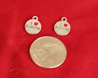 "BULK! 15pc ""I love swimming"" charms in antique silver style (BC617B)"