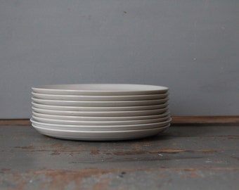 Ironstone Salad Plates / Set of Vintage Mid-Century Lagardo Tackett Ironstone Salad Plates /  Nine White Ironstone Largado Tackett 11102