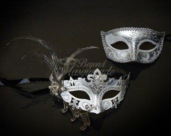Couples Masquerade Mask, His & Hers Masquerade Mask, Masquerade Mask, Mardi Gras Masks, Silver | White