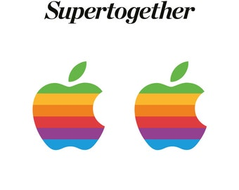 Retro Apple Logo Decal Stickers for Apple iPad Pro 12.9 and 9.7 inch