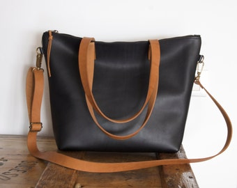 Ready to ship. Medium Black Leather bag with zip and brown leather straps. Minimalist zipper leather bag.