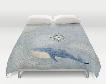Nautical Map with Whale  Duvet Cover  or Comforter - bed - bedroom, travel decor, cozy soft, blue, coastal, seashore, warm, wanderlust