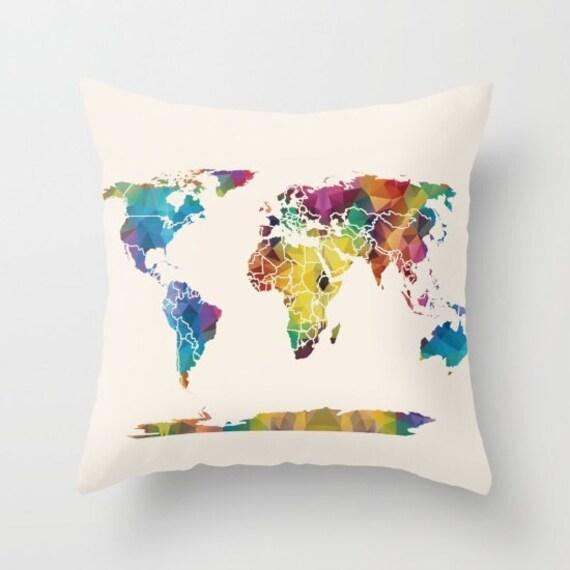 Map Pillow - Geometric map, colorful map,  unique, modern, dorm, apartment, travel decor, geometric on beige