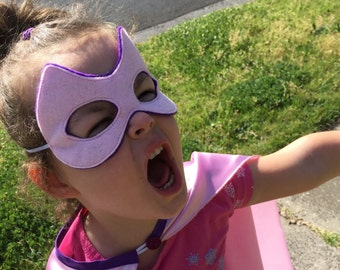 Pink and Purple Satin Super Hero Cape and Felt Mask Set