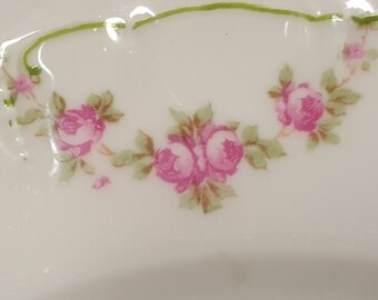 Vintage Bridal Rose China Plate from Altrohlau late 1800s early 1900s
