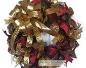 Deco Mesh Christmas Wreath, Christmas Wreaths for Front Door, Christmas Deco Mesh Wreath, Gold Wreath, Indoor Christmas Wreath, Mantle Wreth