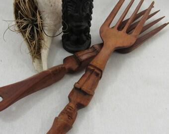 Vintage Hand Carved Wood Serving Utensils Salad Servers Tiki Wooden Serving Fork