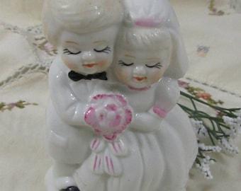 Vintage Ceramic Wedding Cake Topper Bride Groom
