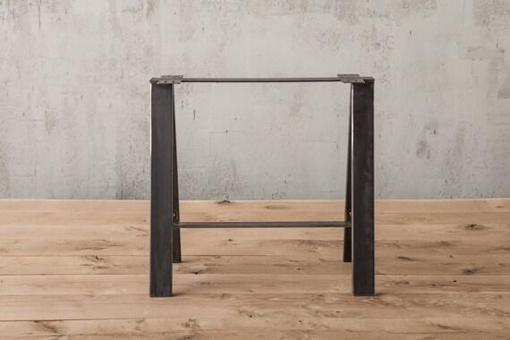 saw horse table leg metal table legs rustic industrial-Pair