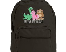 Yeti, Loch Ness Monster, Unicorn, Canvas Bag, Monster Bag, Believe in Yourself Embroidered Canvas Backpack with Leather Accents