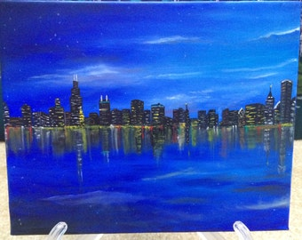 Blue City - An Original Oil Painting on Canvas 8X10