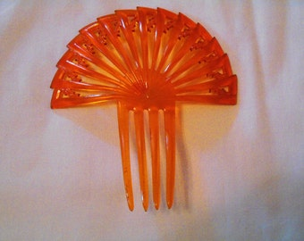 Antique Celluloid Amber Colored Hair Comb