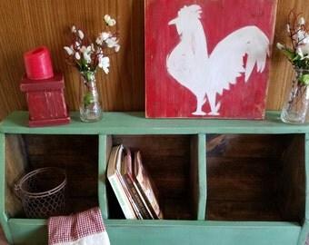 Primitive Cubby Storage  Rustic Distressed Sage Green Countertop Kitchen Bedroom Shelf Wood Home Decor