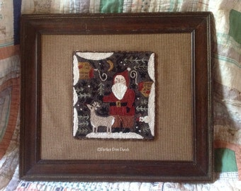 Primitive Punch Needle Santa Scene. Mounted in Antique Frame. Pattern by Brenda Gervais, Merry Olde Soul.