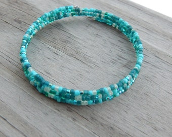 Turquoise Blue Memory Wire Bracelet - 3 Coil Turquoise Blue Memory Wire Bracelet