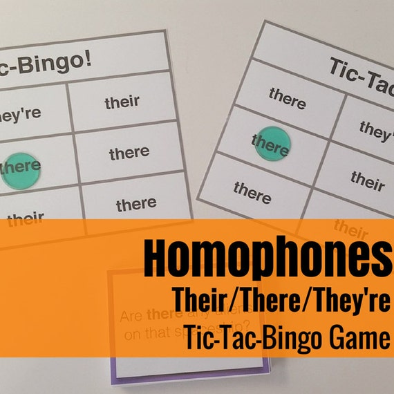 Their/There/They're Tic-Tac-Bingo Language Arts & Grammar Game