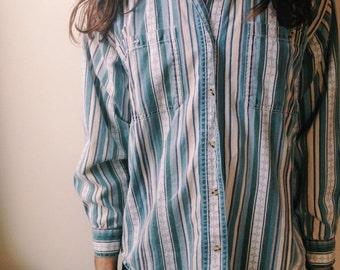 Men's Vintage 70s Striped Button Up