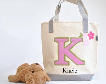 Pink Initial Tote |Girls Book Bag | Kids tote bag | Library book bag | Easter Gift |Big sister kit| Preschool Tote Bag| Personalized tote