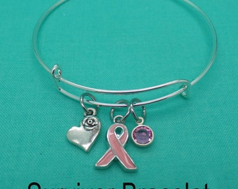 Breast Cancer Gifts, Breast Cancer Bracelet, Breast Cancer Jewelry, Breast Cancer Survivor, Awareness Ribbon, Birth stone, Sister, Mom