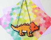 Triceratops necklace, statement necklace, dinosaur necklace, dinosaur jewelry, triceratops jewelry, friendly dinosaur, perler dinosuar