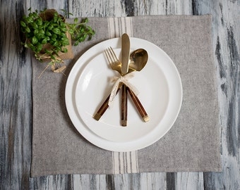 Placemat Charcoal with White Stripes