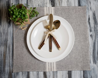 Placemat Charcoal with White Stripe