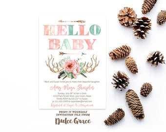 Hello baby invitations, meet baby party, new baby invitations, sip and see shower, meet baby shower, watercolor baby shower, arrows antlers