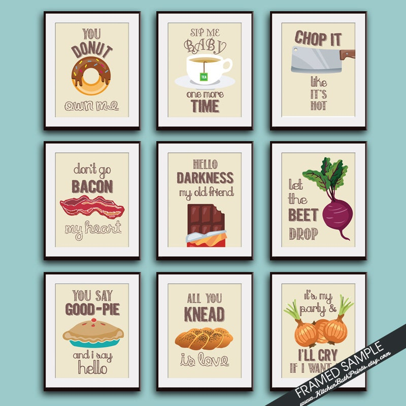 Funny kitchen song series set of 9 art prints featured in for Kitchen set video song