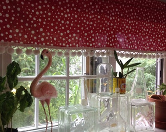 Retro Kitchen Curtain / Valence Window Treatment. New Fabric, Vintage Ball  Fringe. In