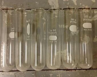 6 vintage lab test tubes , pyrex 50 mL