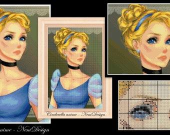 Cinderella anime - cross stitch pattern - PDF pattern - instant download!